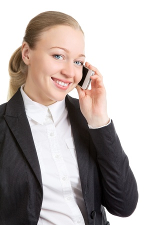 happy business woman talking on cell phone, isolated on white Stock Photo - 14736629