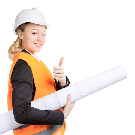 engineer woman with drawing thumbs up, isolated on white photo