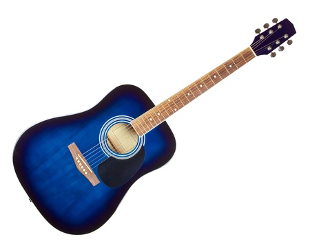 blue classic acoustic guitar, isolated on white photo