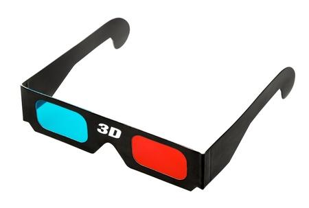 black 3d eyeglasses isolated on white background Stock Photo - 17407937