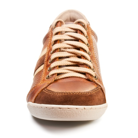 brown leather trainer shoe isolated on white Stock Photo - 17408011
