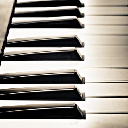 keys of piano, black and white, closeup photo