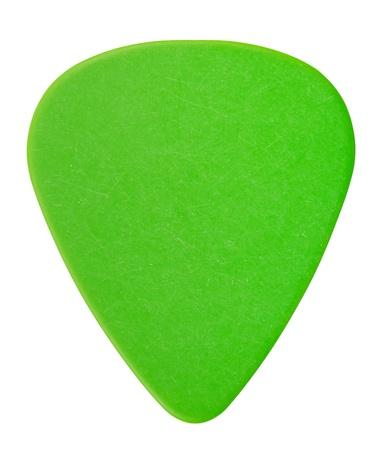 green plastic guitar plectrum, isolated on white Standard-Bild