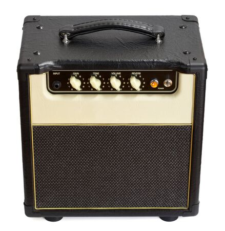 combo: black vintage guitar aplifier, isolated on white
