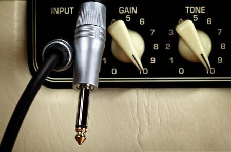 retro guitar amplifier control panel, close up Stock Photo - 17408110