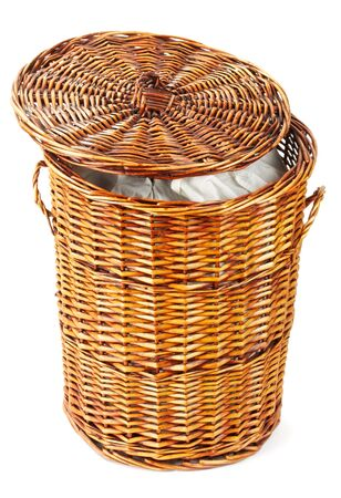 wooden laundry basket isolated on white background photo