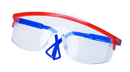 protecting spectacles: protective worker eyeglasses, isolated on white background Stock Photo