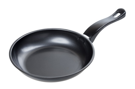 adherent: black frying pan isolated on white background