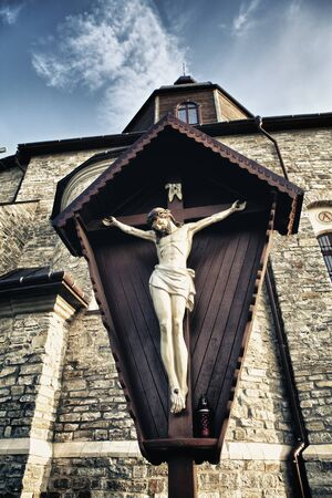crucifix in Kamenetz-Podolsk church, Ukraine, low angle view Stock Photo - 17599186