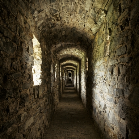 arched: long stone corridor with windows in ancient castle Editorial