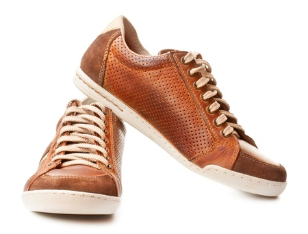 brown leather trainer shoe isolated on white Stock Photo - 17599109