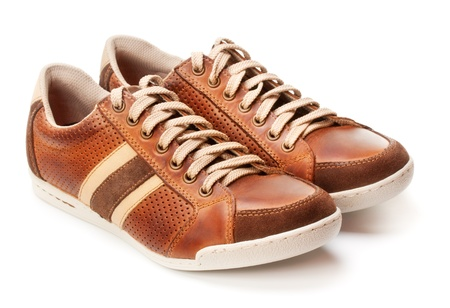 brown leather trainer shoe isolated on white Stock Photo - 17599119