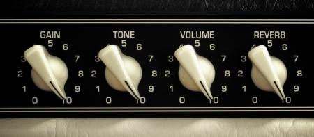 retro guitar amplifier control panel, maximum position, close up Archivio Fotografico