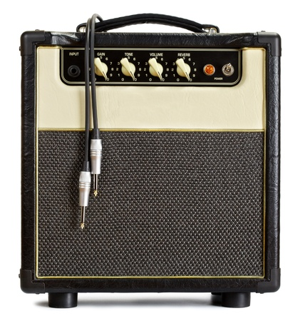 guitar amplifier: black vintage guitar aplifier with cable, isolated on white