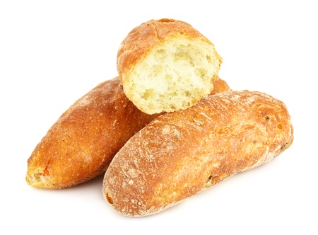 some ciabatta (italian bread), isolated on white background photo