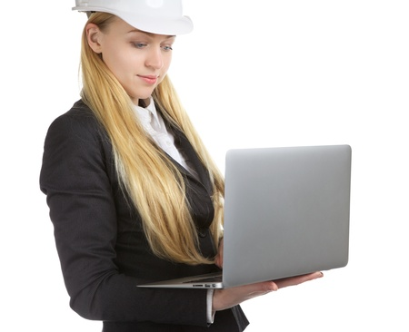 engineer woman with laptop, isolated on white photo