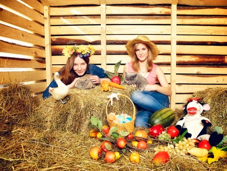 two girl with rabbit, cat and harvest on hayloft at summer day photo