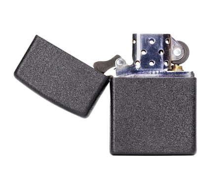 black metal gasoline lighter, isolated on white Stock Photo - 19516163