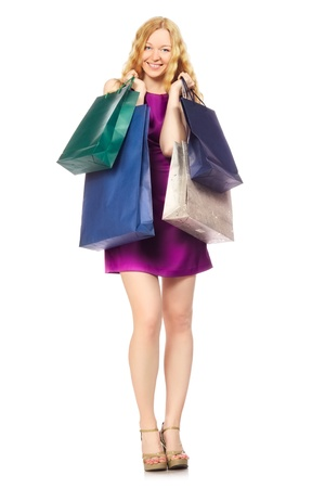 happy girl with shopping bags, isolated on white Stock Photo - 19515640