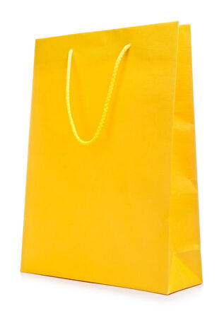 colorful paper shopping bag, isolated on white photo