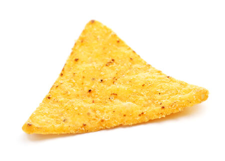 corn chip: Mexican nachos chips, isolated on white