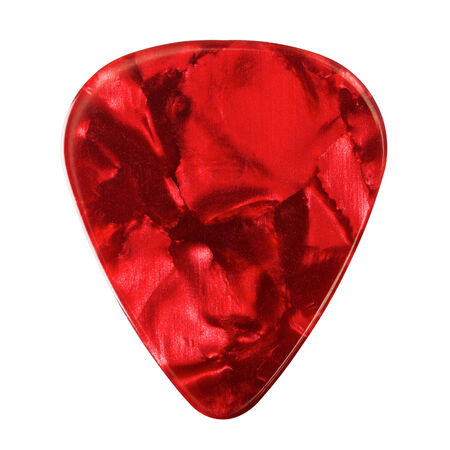 red guitar plectrum, isolated on white  Stock Photo - 23526098