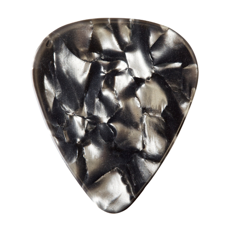 black guitar plectrum, isolated on white  photo