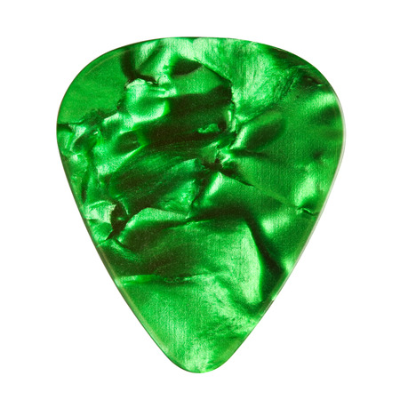 green guitar plectrum, isolated on white photo