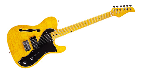 yellow semi-hollow electric guitar, isolated on white