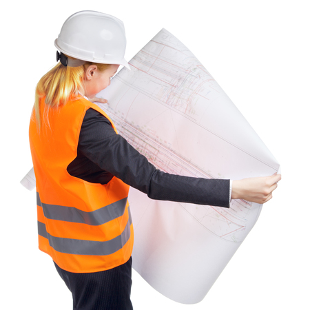 engineer woman with drawing turn out, isolated on white photo