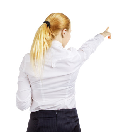 business woman pointing at something, rear view