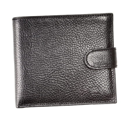 black leather wallet, isolated on white