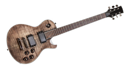 six-string black electric guitar, isolated on white