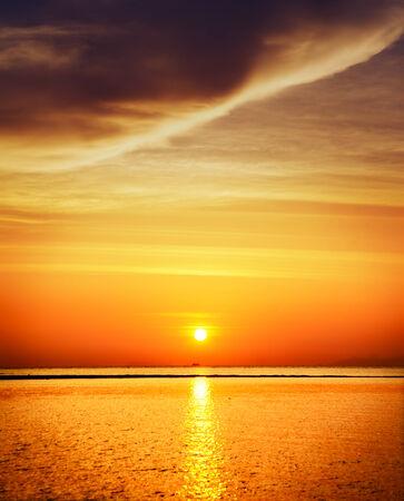 beautiful sunset over calm sea, samui, thailand photo
