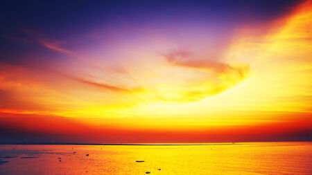 beautiful sunset over calm sea, samui, thailand photo