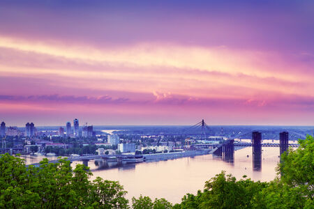 dnieper: sunset over Kiev and Dnieper at summer, ukraine Stock Photo