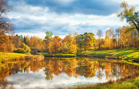 autumn landscape in park with river and blue sky photo