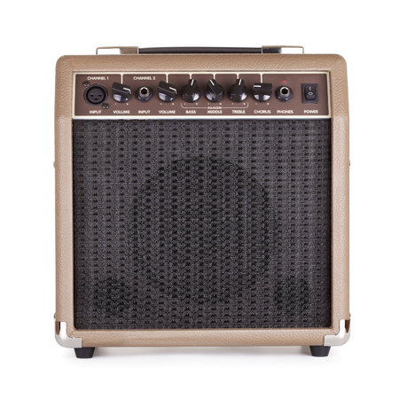 amplifier: brown guitar combo amplifier, isolated on white