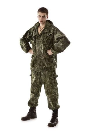 military man: young military man, isolated on white background Stock Photo
