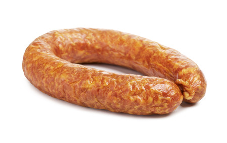 krakow sausage: ring of farmer sausage, isolated on white Stock Photo