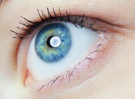 imagen del ojo humano, el iris azul y verde