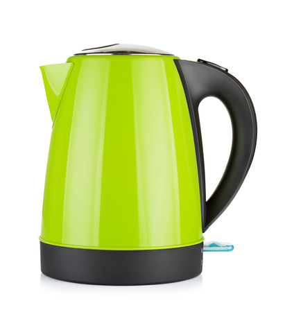 electric kettle: modern green electric kettle, isolated on white