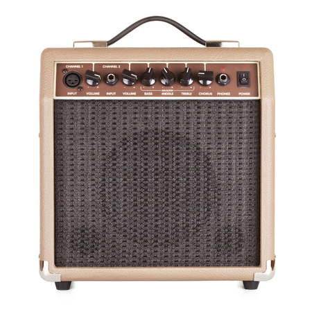 brown guitar combo amplifier, isolated on white photo