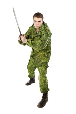 machete: young military man with machete, isolated on white Stock Photo