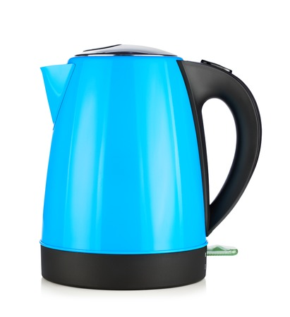 electric kettle: modern blue electric kettle, isolated on white