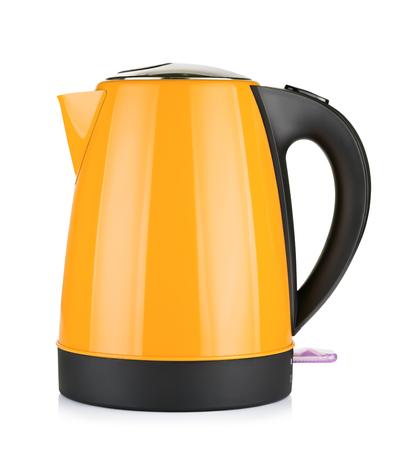 modern orange electric kettle, isolated on white photo