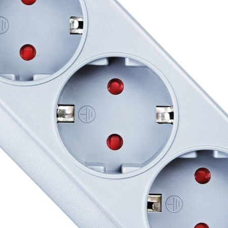 the surge: Gray surge protector closeup, isolated on white Stock Photo
