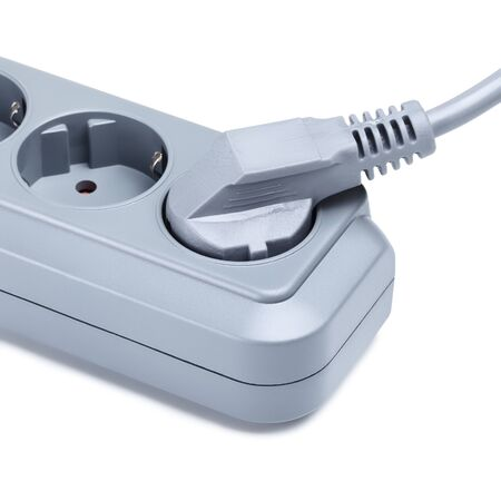 the surge: gray surge protector with plug, isolated on white