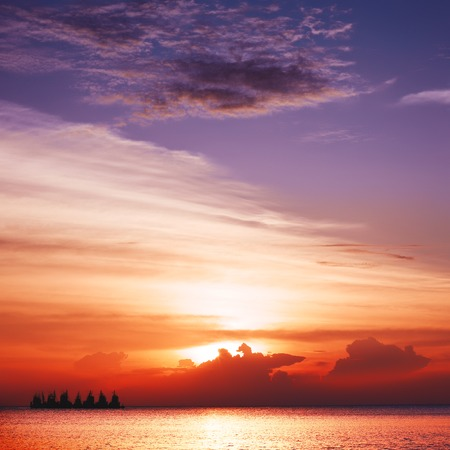 beautiful heaven: beautiful sunset over calm sea