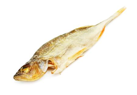 perch dried: salty dried fish perch, isolated on white background